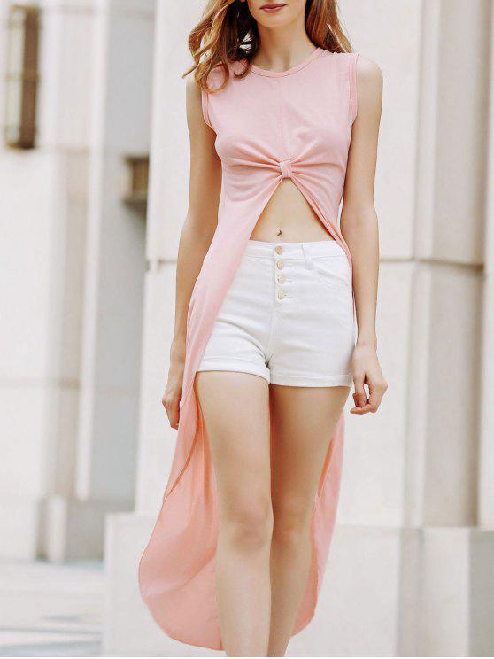 Albaricoque sin mangas cuello redondo vestido alto-bajo - Albaricoque XL