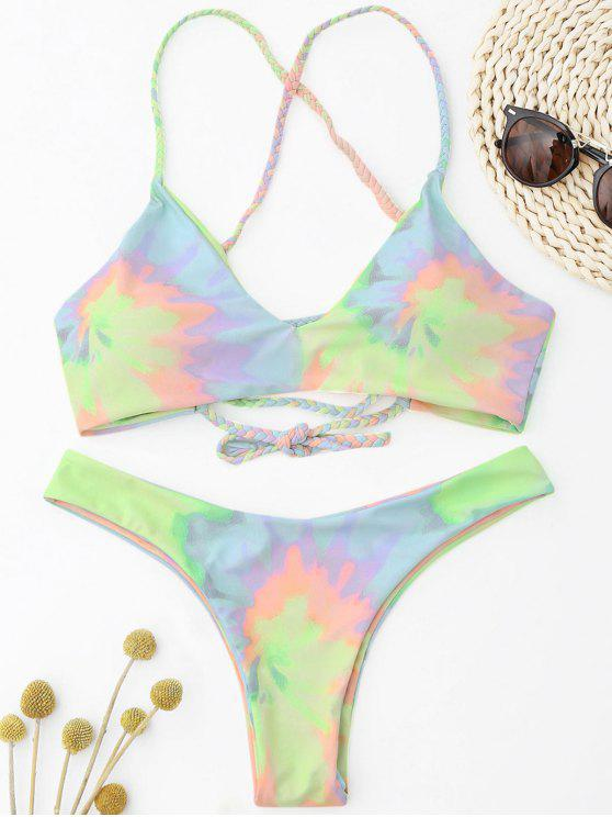 women Tie Dye Braided Criss Cross Bikini Set - LIGHT YELLOW S