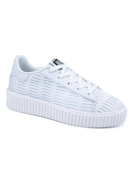 ladies Tie Up Mesh Breathable Athletic Shoes - WHITE 37