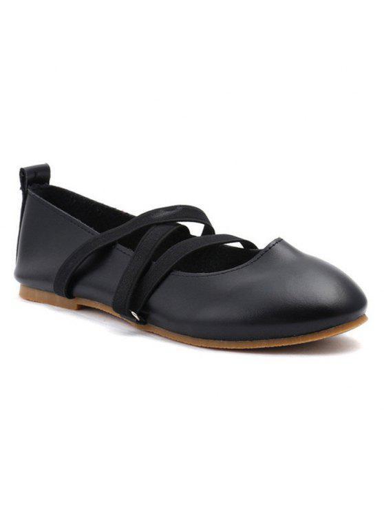 Flache Schuhe aus Kunst Leder mit Elastischem Band - Schwarz 37
