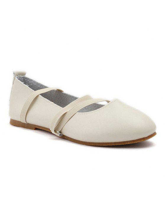 shops Elastic Band Faux Leather Flat Shoes - OFF-WHITE 39