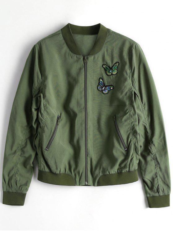 trendy Zip Up Butterfly Beading Bomber Jacket - ARMY GREEN S