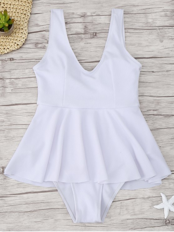 outfits Ruffle Ribbed One Piece Swimwear - WHITE M