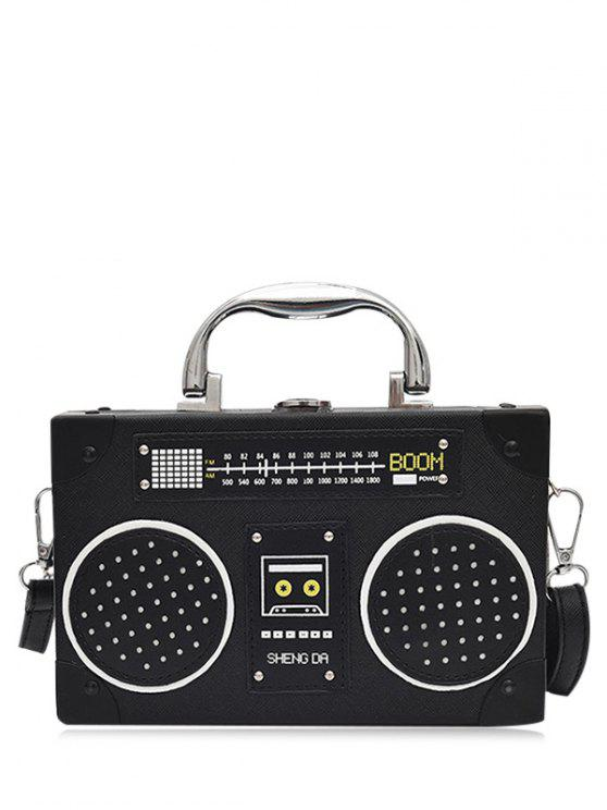 Faux Leather Radio forma de Crossbody bolsa - Negro