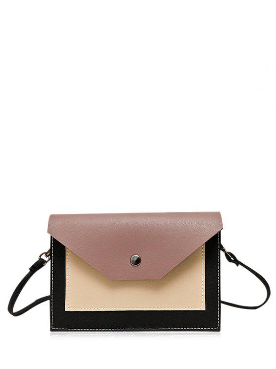 buy Flapped Color Block Cross Body Bag - RUSSET-RED