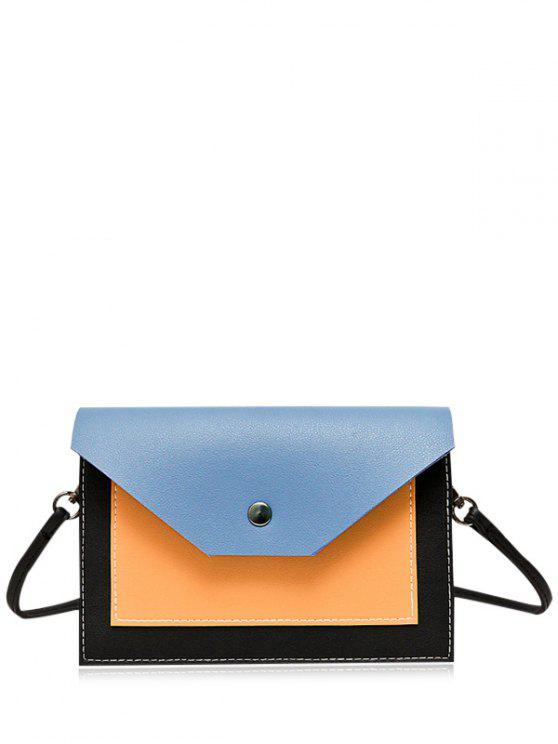 women Flapped Color Block Cross Body Bag - BLUE
