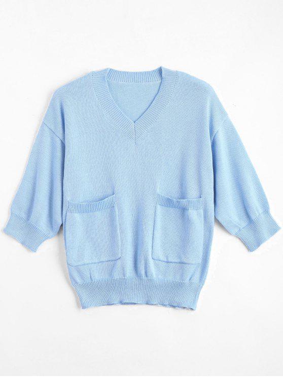 online V Neck Loose Sweater With Pockets - LIGHT BLUE S
