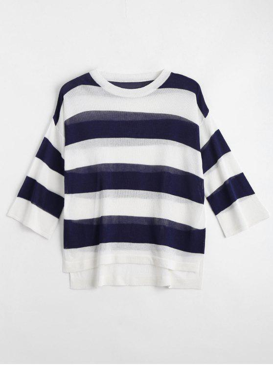 outfits Loose Stripes Crew Neck Sweater - DEEP BLUE XL