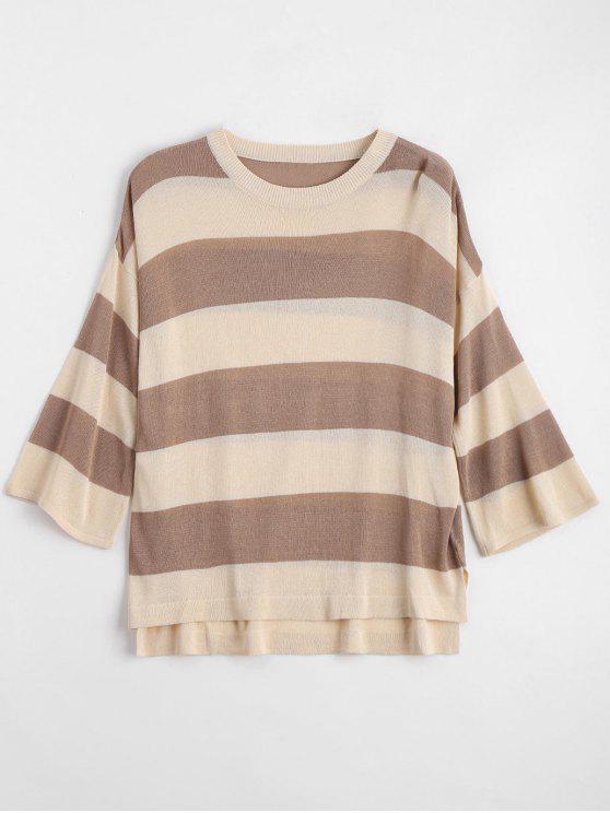 trendy Loose Stripes Crew Neck Sweater - KHAKI M