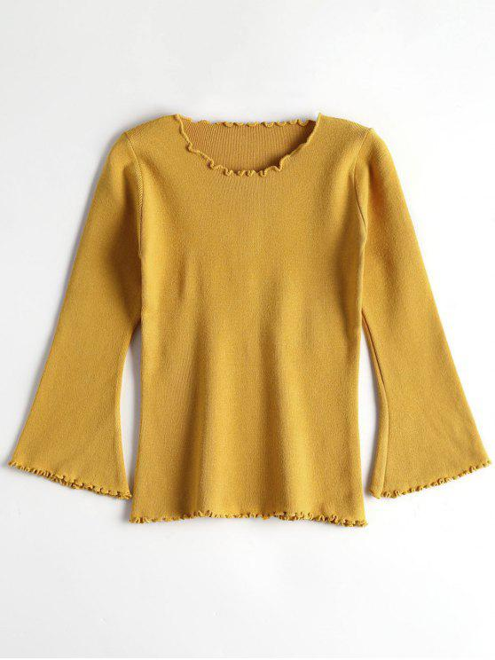online Fitting Ruffles Flare Sleeve Sweater - YELLOW ONE SIZE