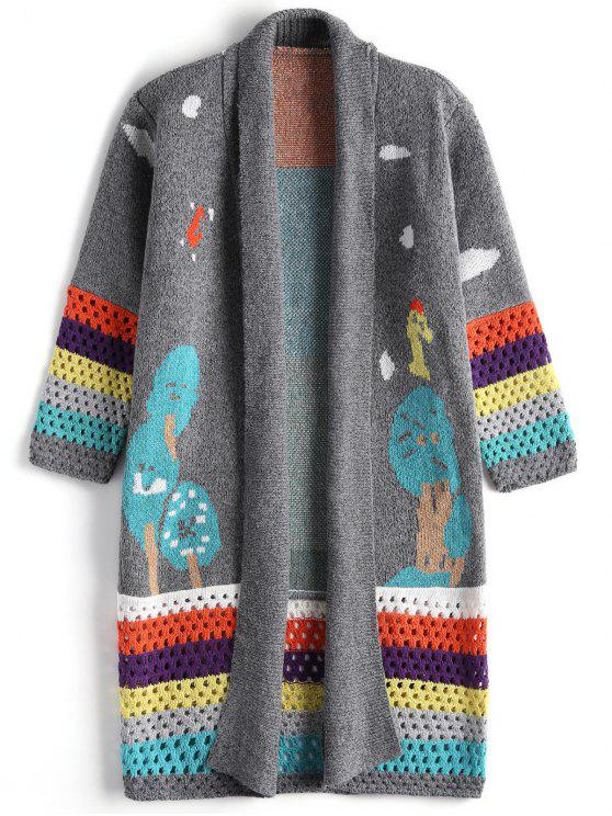 outfit Contrasting Jacquard Open Front Cardigan - GRAY ONE SIZE