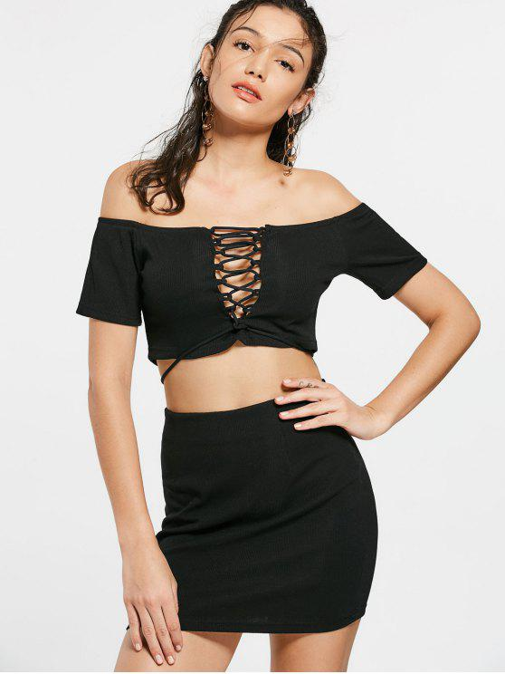 trendy Lace Up Off Shoulder Top and Knitted Mini Skirt - BLACK XL