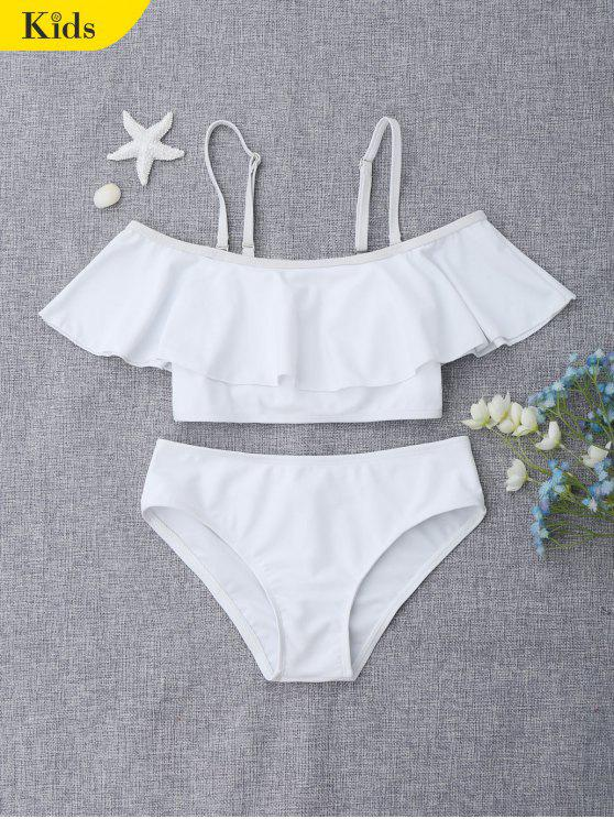 womens Layered Off The Shoulder Girls Bikini Set - WHITE 7T