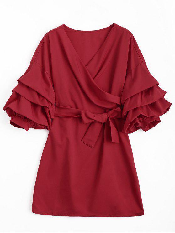 Puff manga cinturón delantero cruzado mini vestido - Rojo L
