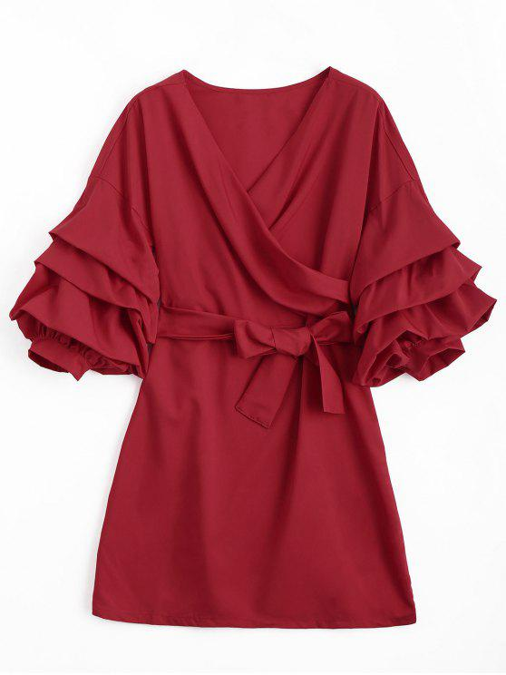 hot Puff Sleeve Belted Crossed Front Mini Dress - RED S