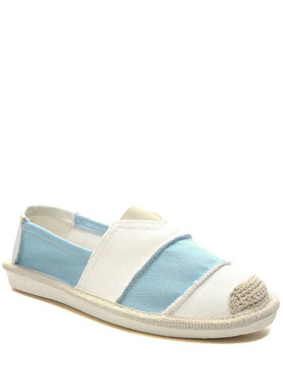 trendy Elastic Band Striped Canvas Flat Shoes - LIGHT BLUE 37