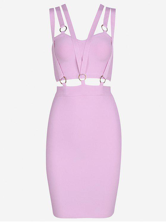 fancy Zippered Cut Out Fitted Dress - PINKISH PURPLE S