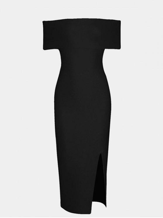 affordable Off The Shoulder Side Slit Fitted Dress - BLACK S