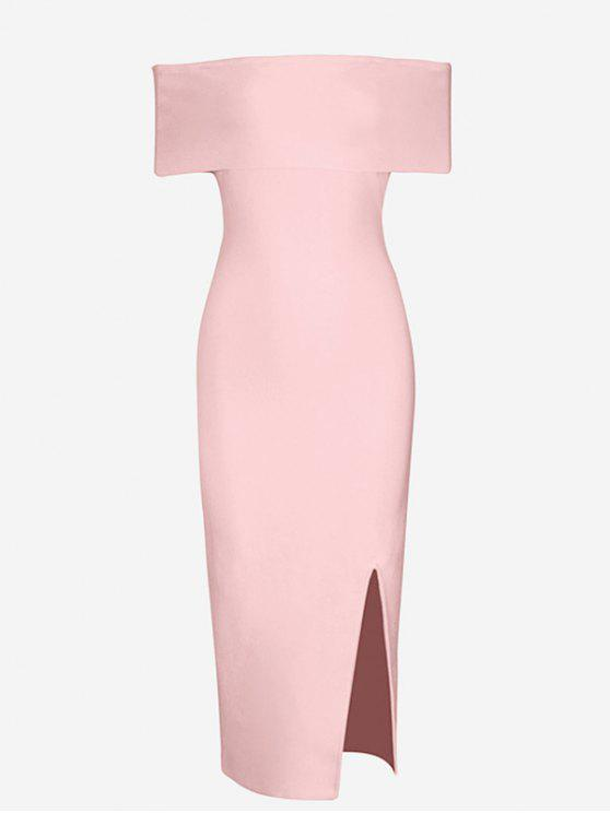 women Off The Shoulder Side Slit Fitted Dress - PINK S