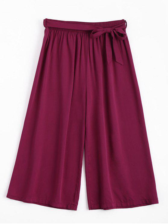 chic Capri High Waisted Belted Wide Leg Pants - PURPLISH RED ONE SIZE