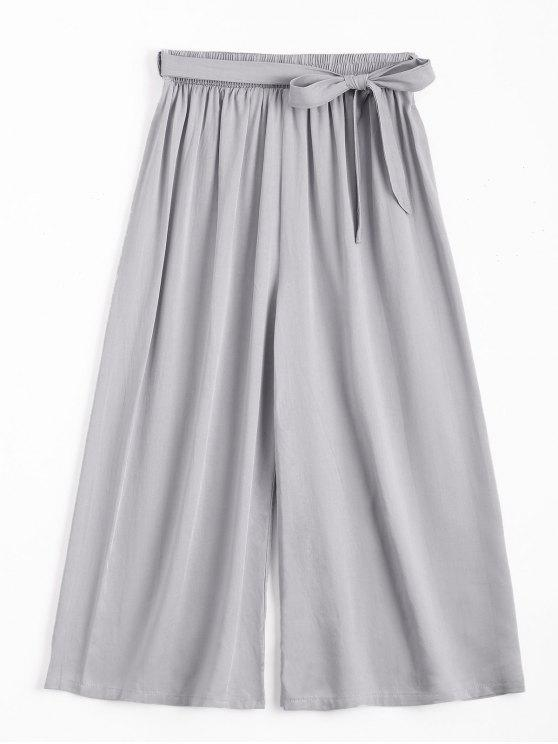 fancy Capri High Waisted Belted Wide Leg Pants - GRAY ONE SIZE