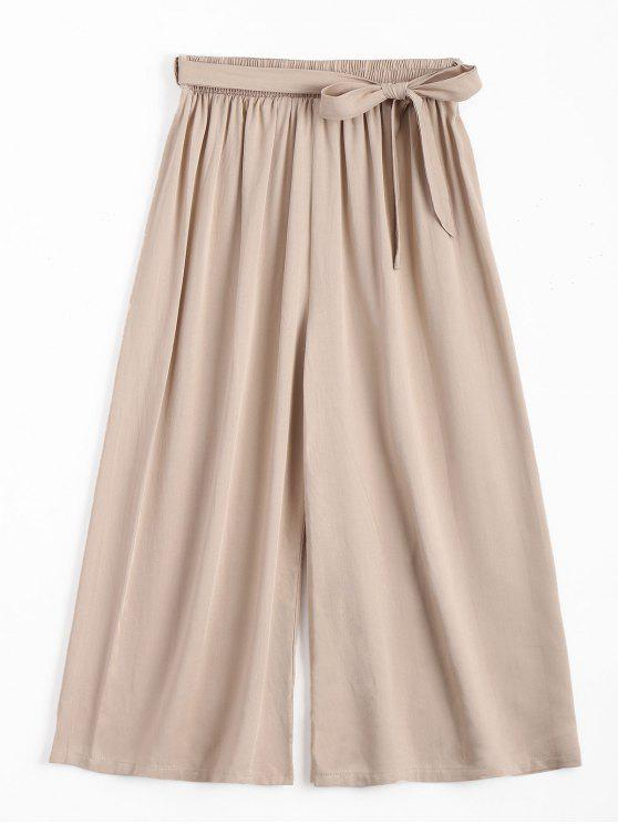 Capri High Waisted Gürtel Wide Leg Hose - Helles Khaki Eine Größe