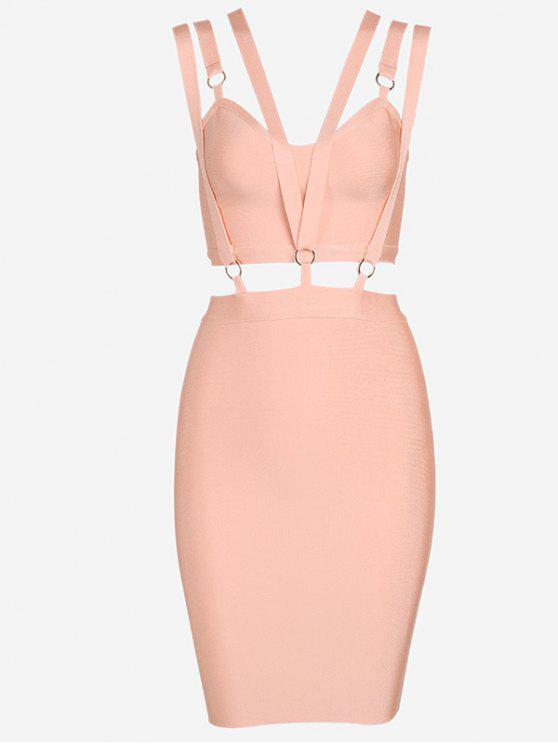 lady Zippered Cut Out Fitted Dress - ORANGEPINK L