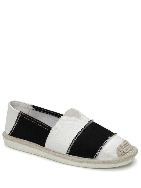 Chaussures plates en toile à rayures à bandes élastiques - Noir 38
