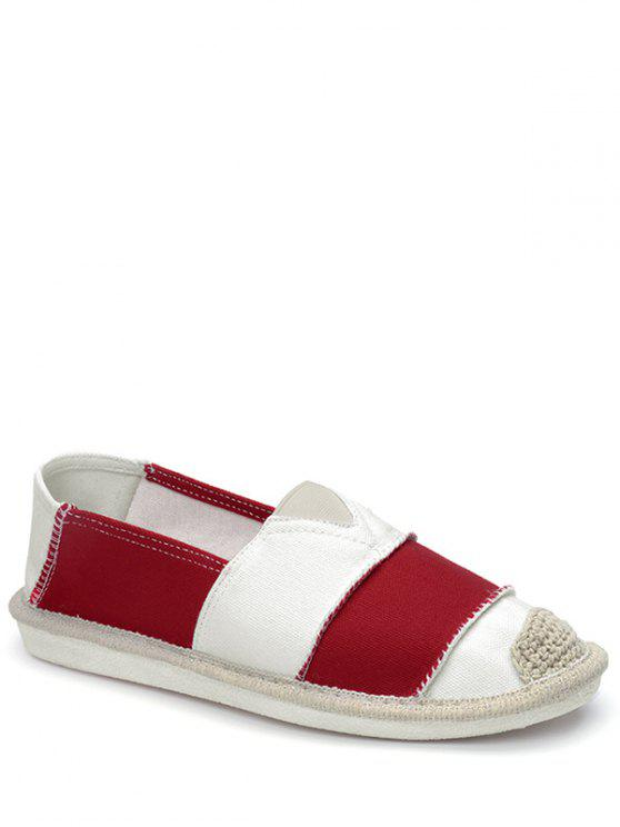 shop Elastic Band Striped Canvas Flat Shoes - RED 37