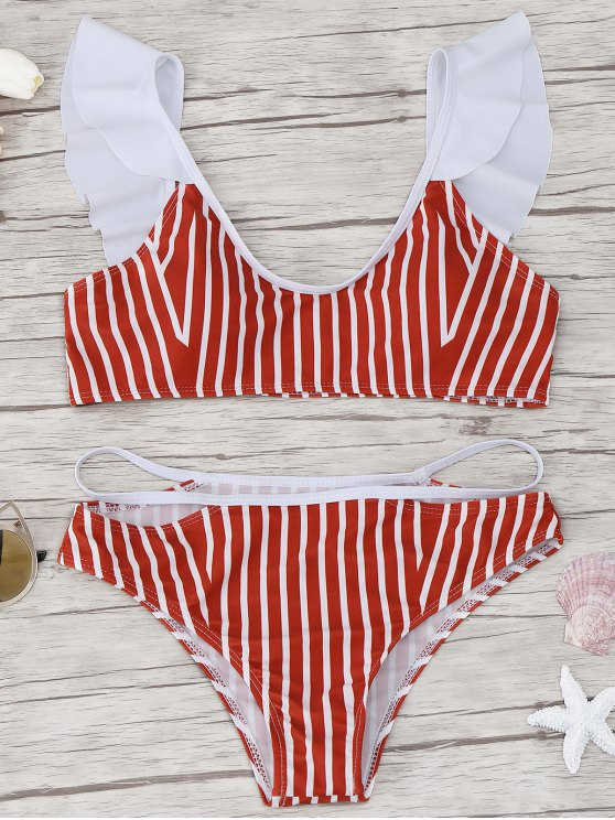 lady Frilled Striped Bikini Set - RED M