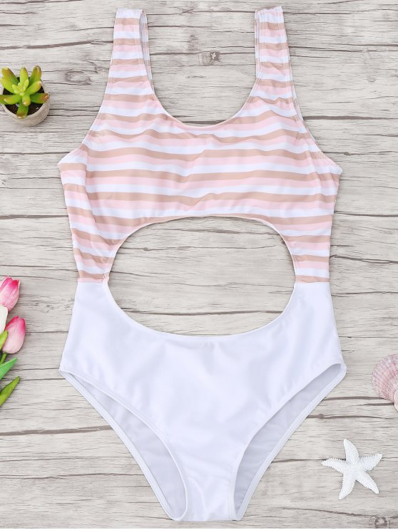outfits Cutout Striped One Piece Swimsuit - LIGHT PINK M