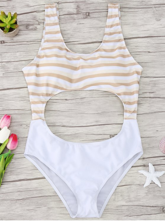 trendy Cutout Striped One Piece Swimsuit - YELLOW S