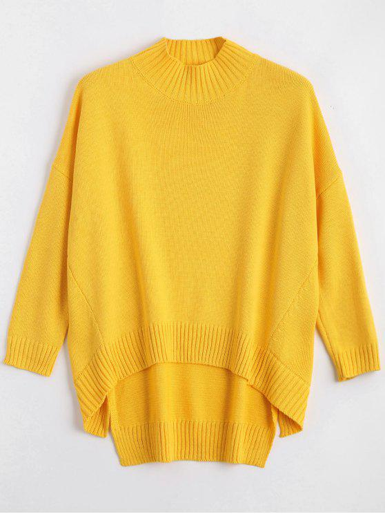 hot High Low Oversized High Neck Sweater - YELLOW L