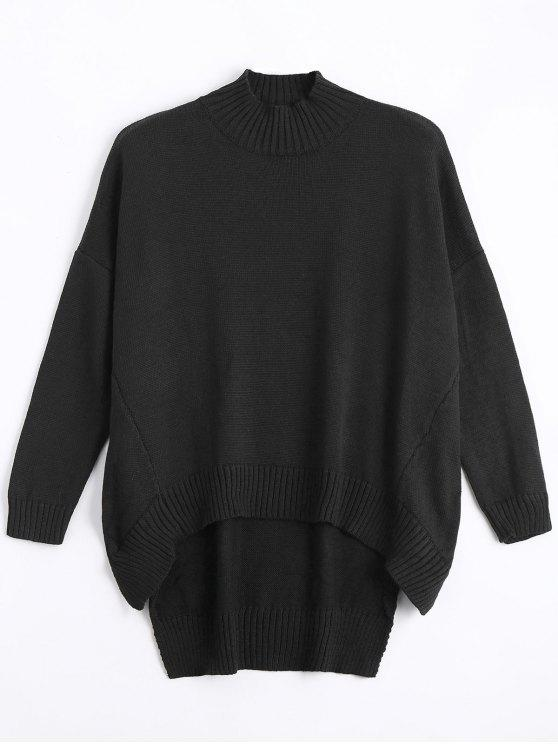 shop High Low Oversized High Neck Sweater - BLACK S