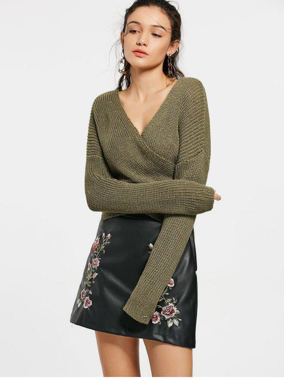 shops Drop Shoulder Plain Wrap Sweater - ARMY GREEN ONE SIZE