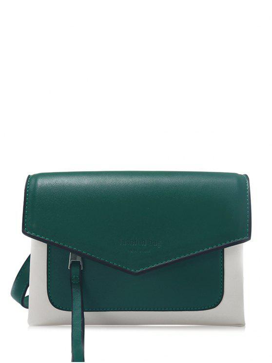 latest Color Block Envelope Crossbody Bag - GREEN