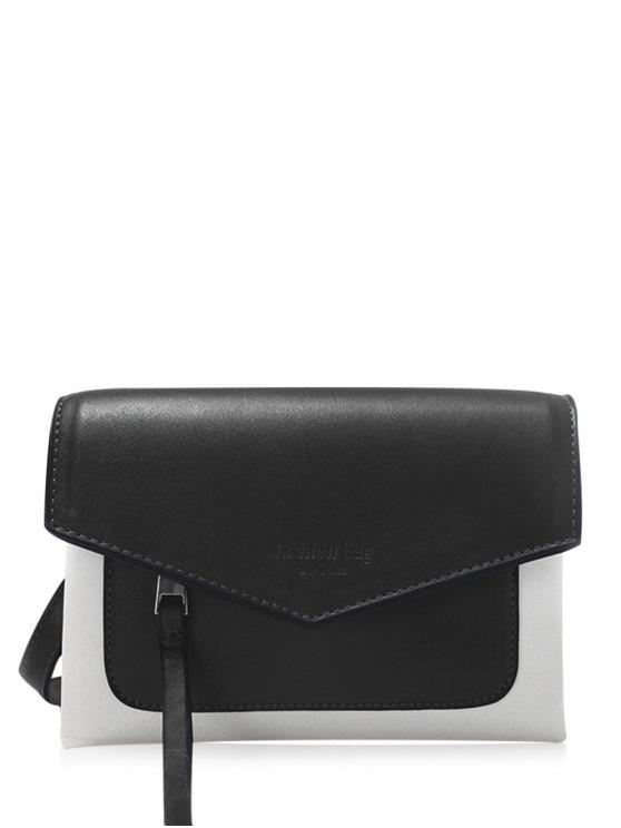 fashion Color Block Envelope Crossbody Bag - BLACK
