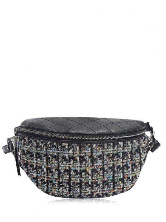 chic Quilted Plaid Pattern Chain Crossbody Bag - BLACK