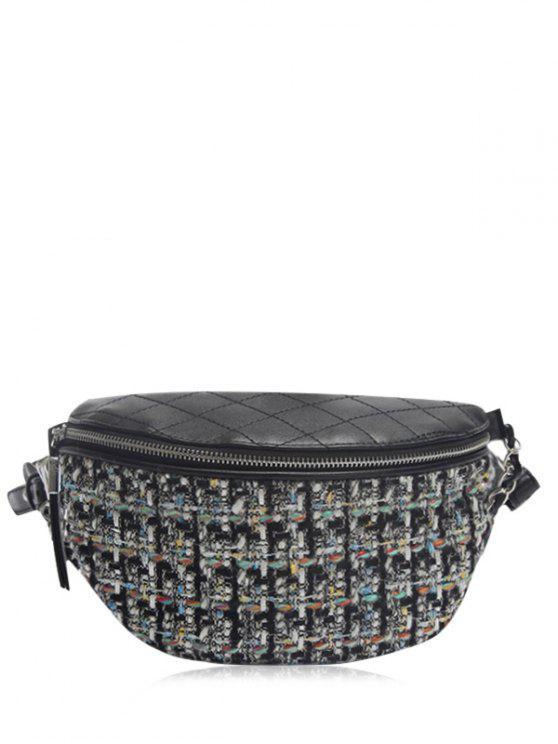 Bolso acolchado del Crossbody de la cadena del patrón de la tela escocesa - Negro
