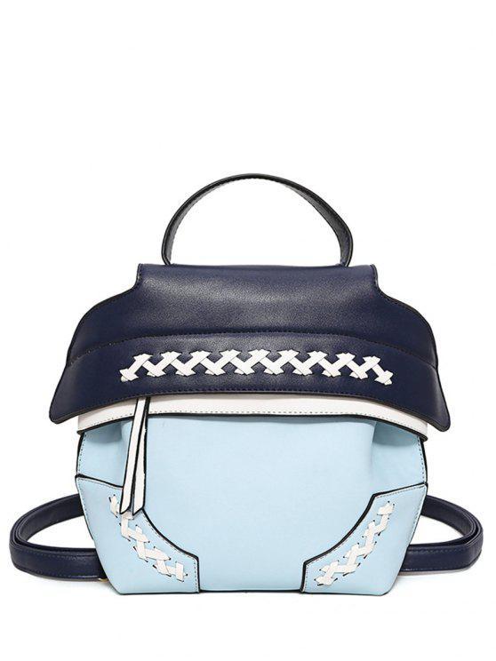 unique Weave Faux Leather Colour Block Backpack - LIGHT BLUE
