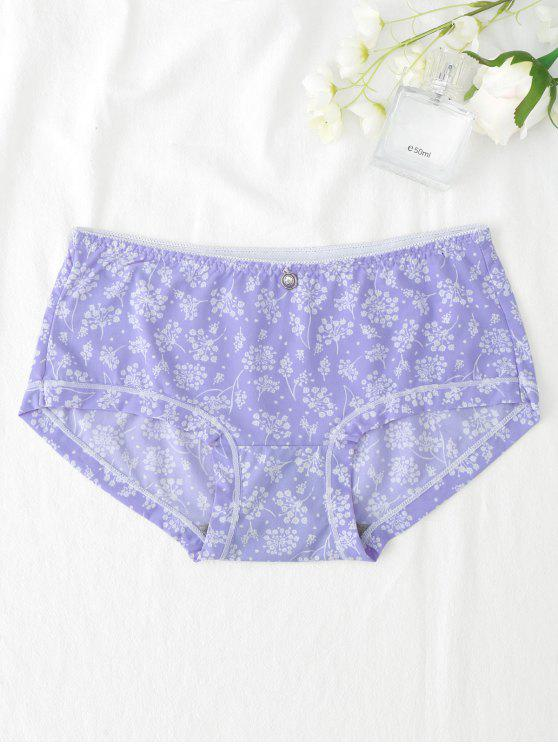 fancy Under Smooth Leaf Print Hipster Panties - PURPLE ONE SIZE