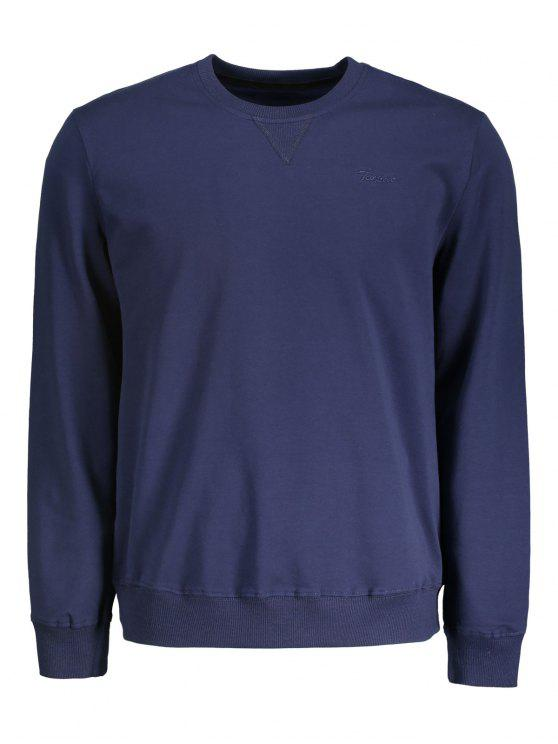 Sweat-shirt à Encolure Ras du Cou - Bleu Violet L