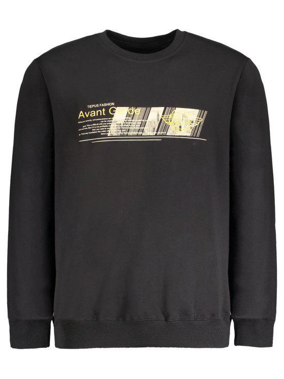 Sweat-shirt Ras du Cou à Motif - Noir 2XL