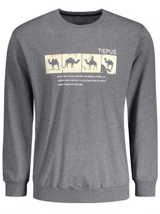 women's Crew Neck Camel Graphic Sweatshirt - DEEP GRAY L