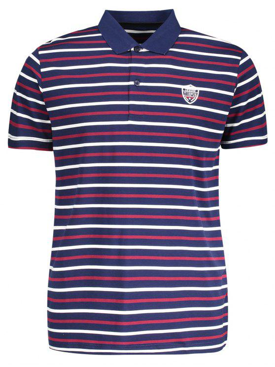 women Stripe Polo Shirt - PURPLISH BLUE L