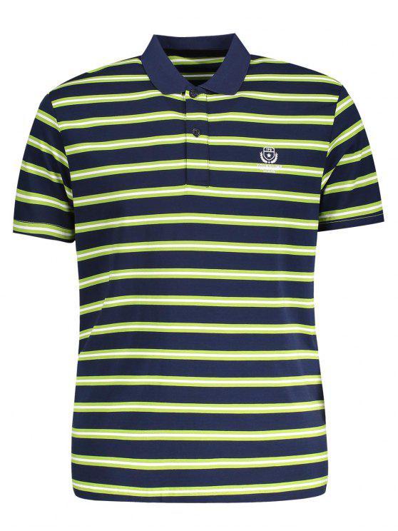 T-Shirt Polo à Rayures - Herbe Verte M
