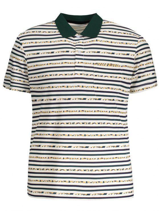 T-shirt Polo à Rayures à Poche - Blanc 2XL