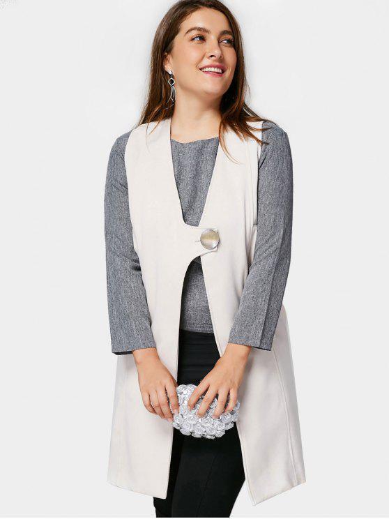 chic Plus Size Longline Waistcoat - OFF-WHITE 2XL