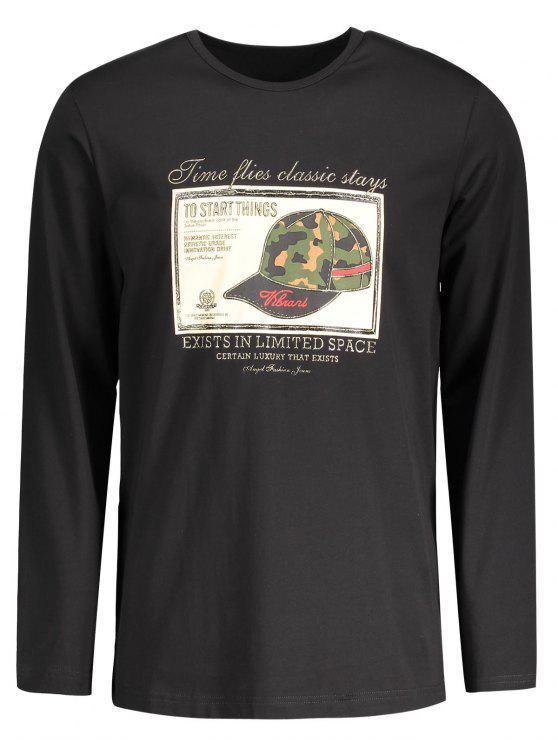women's Mens Graphic Long Sleeve T-shirt - BLACK 2XL