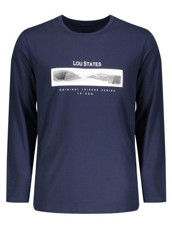 T-shirt à Message à Manches Longues - Bleu Violet 2XL
